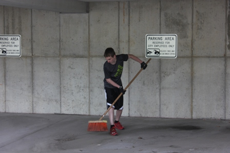 Cleaning City Hall Garage