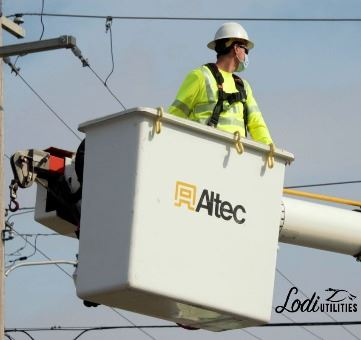 Lodi Utilities Lineman in Bucket Truck