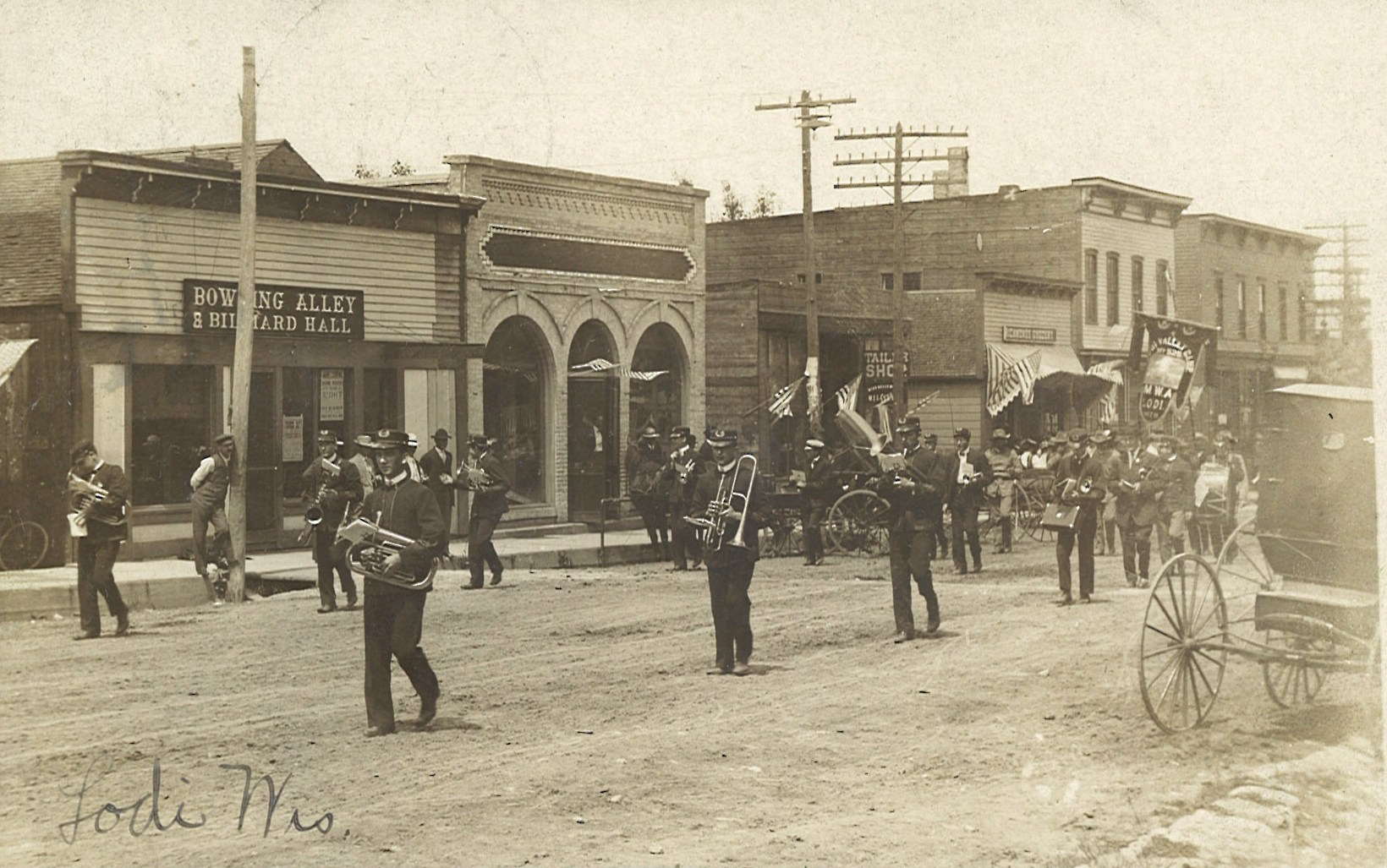Main Street with Band in Parade 2